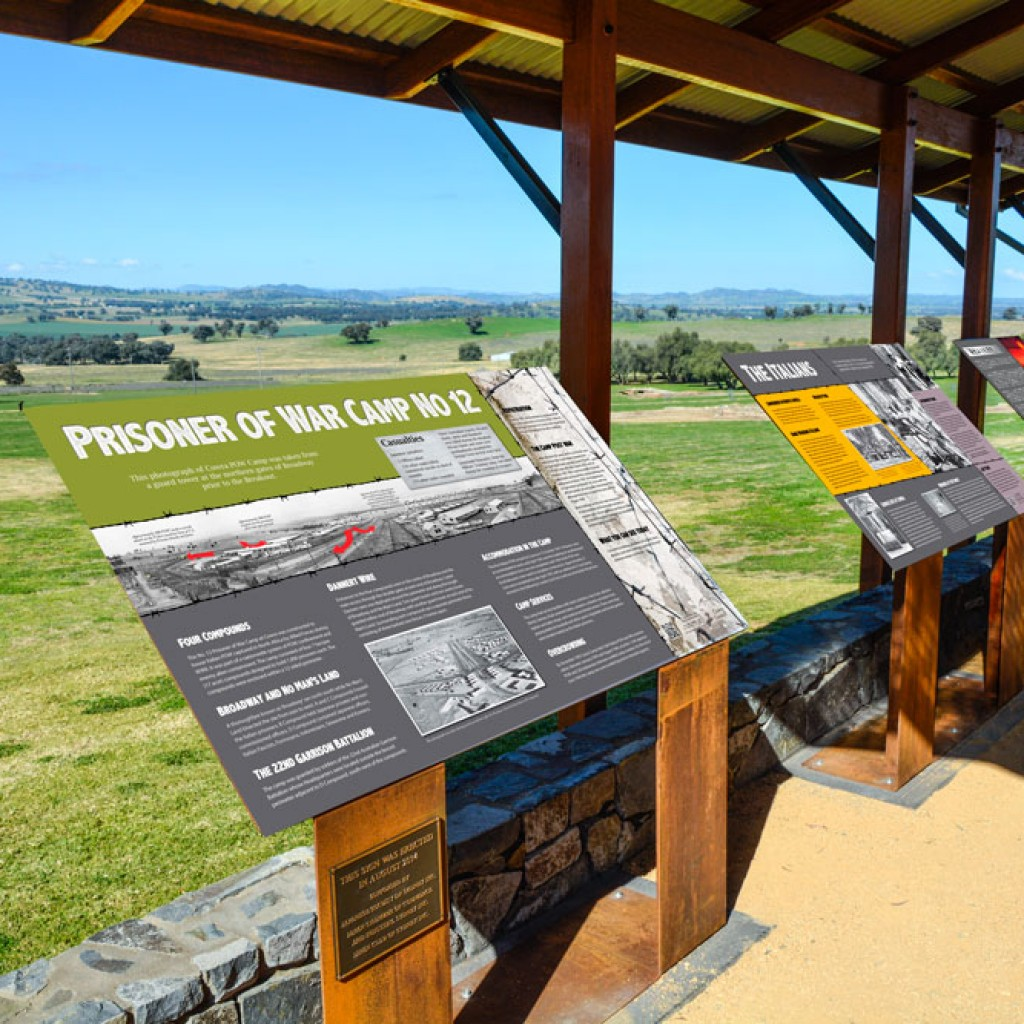 Cowra POW Camp Viewing Platform war history signs