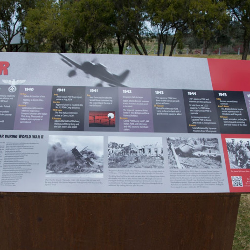 Cowra POW Camp Arrival Area war history sign