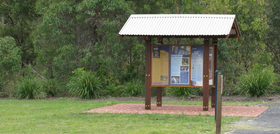 Interpretive project, Shannon Creek Dam shelter display