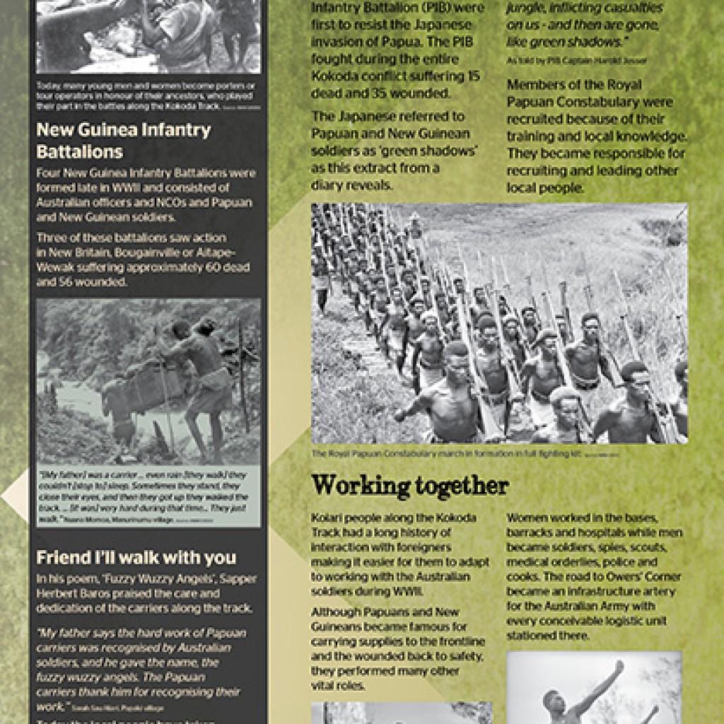 Kokoda Track, Owers Corner Papuan military war history signage