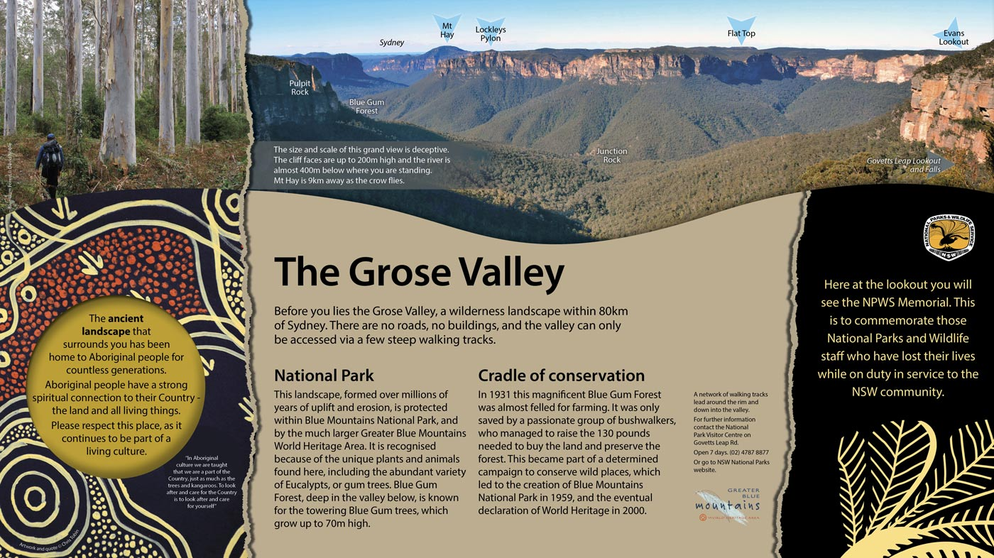 George Phillips Lookout memorial signage for NPWS