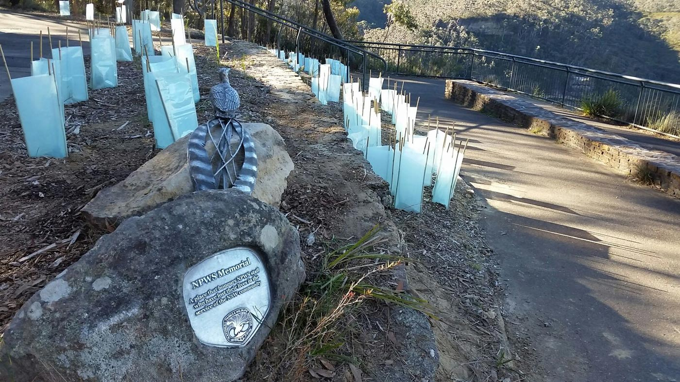 George Phillips Lookout memorial plaque and sculpture for NPWS