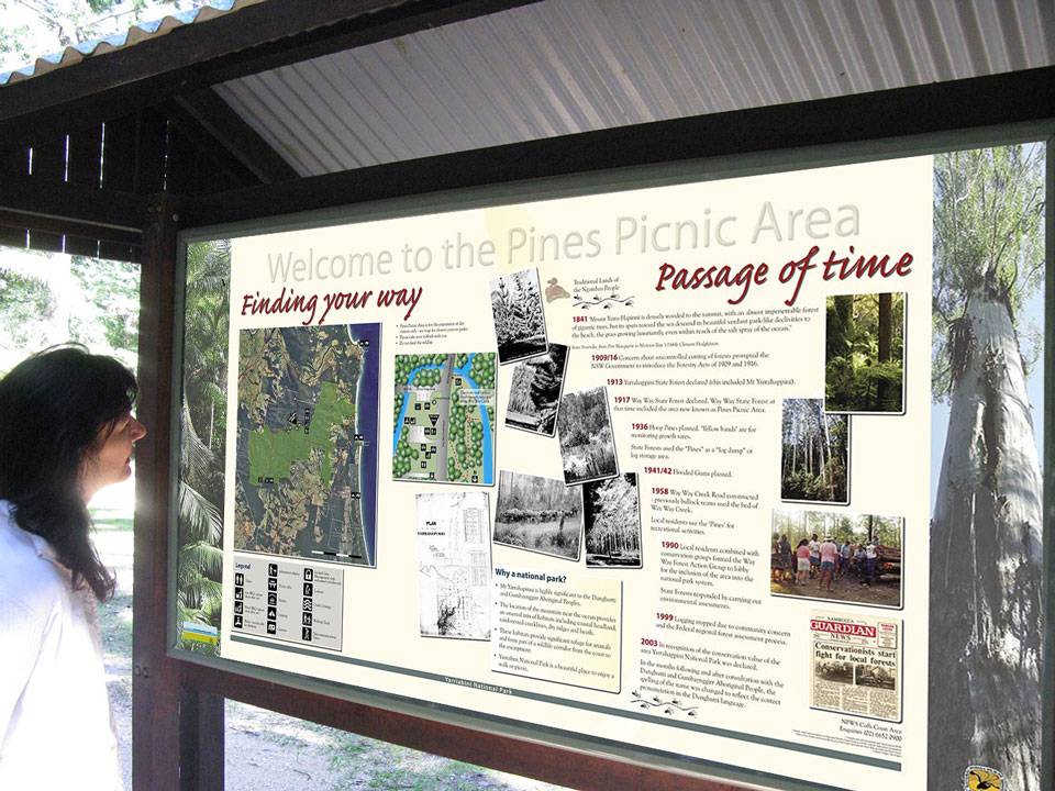 Pines Picnic Area interpretive signage design