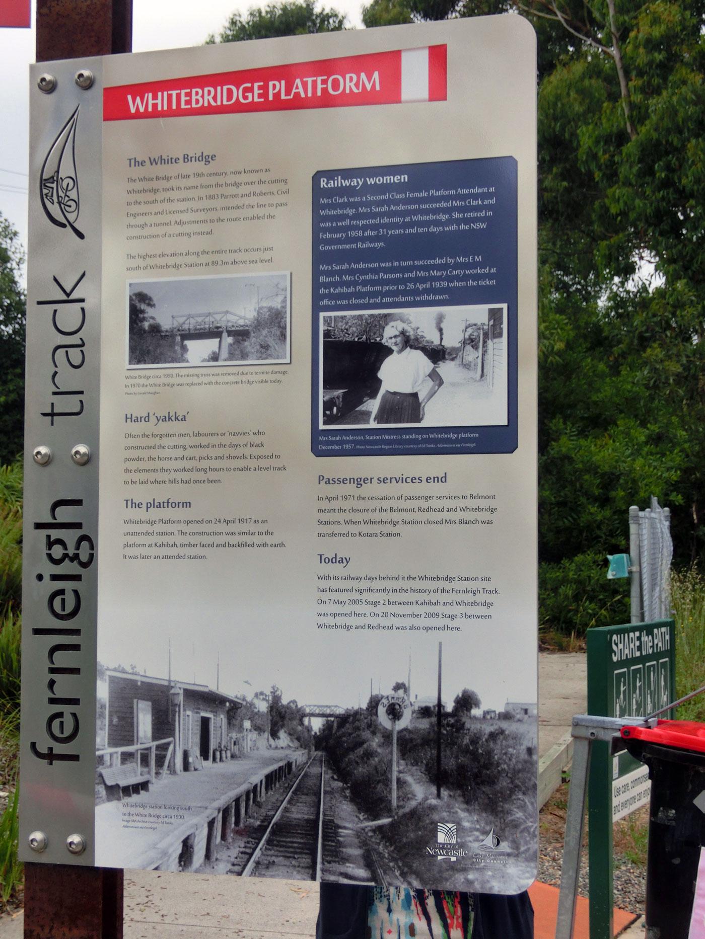 Fernleigh Track rail trail signage