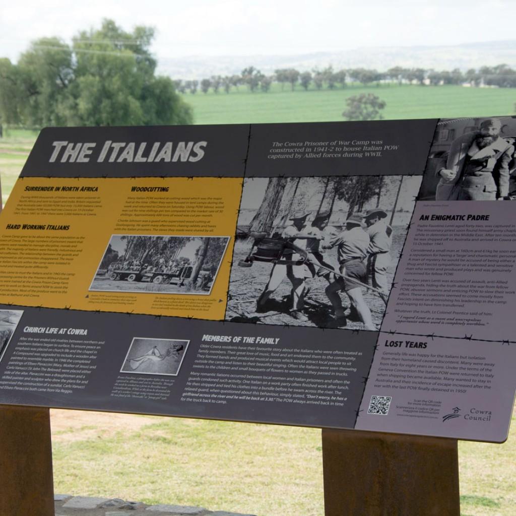 Cowra POW Camp Italian war history signs