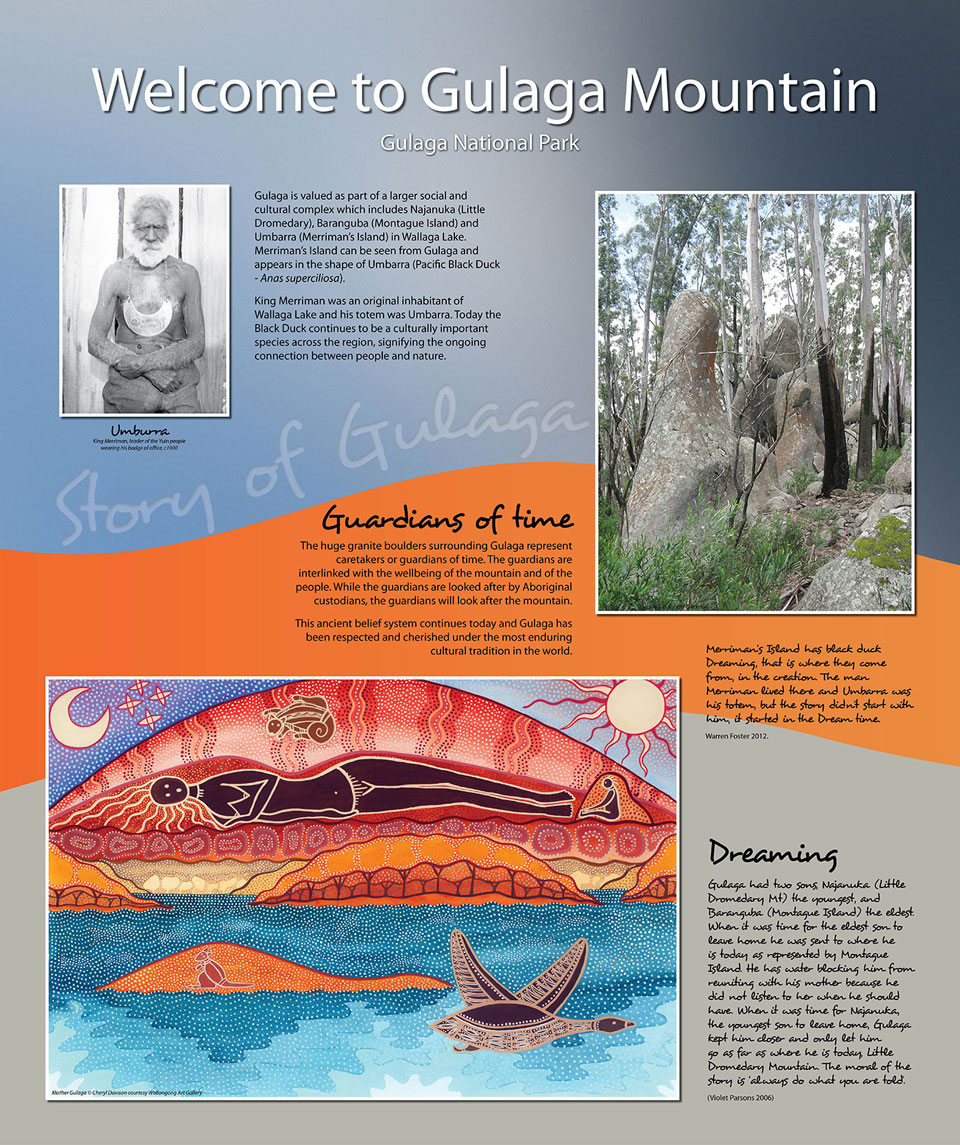 Gulaga Mountain aboriginal interpretive sign2