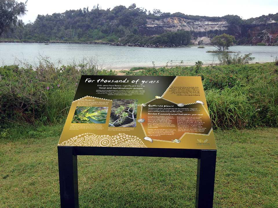 Midden Interpretive Sign, Yaegl & Gumbaynggirr