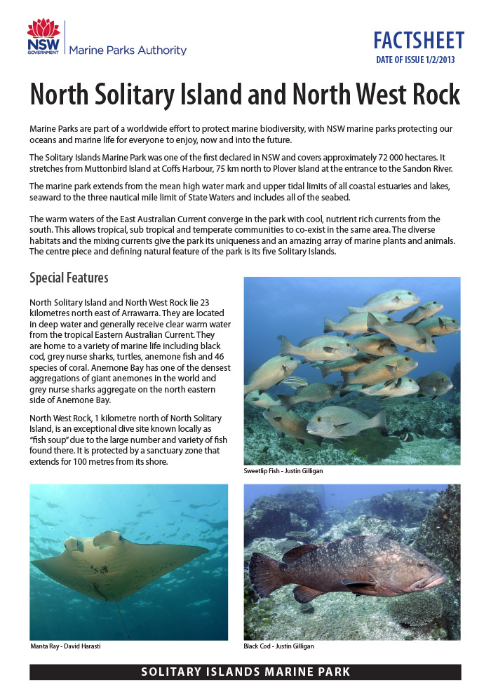 Solitary Islands Marine Park Fact Sheet - North West Rock