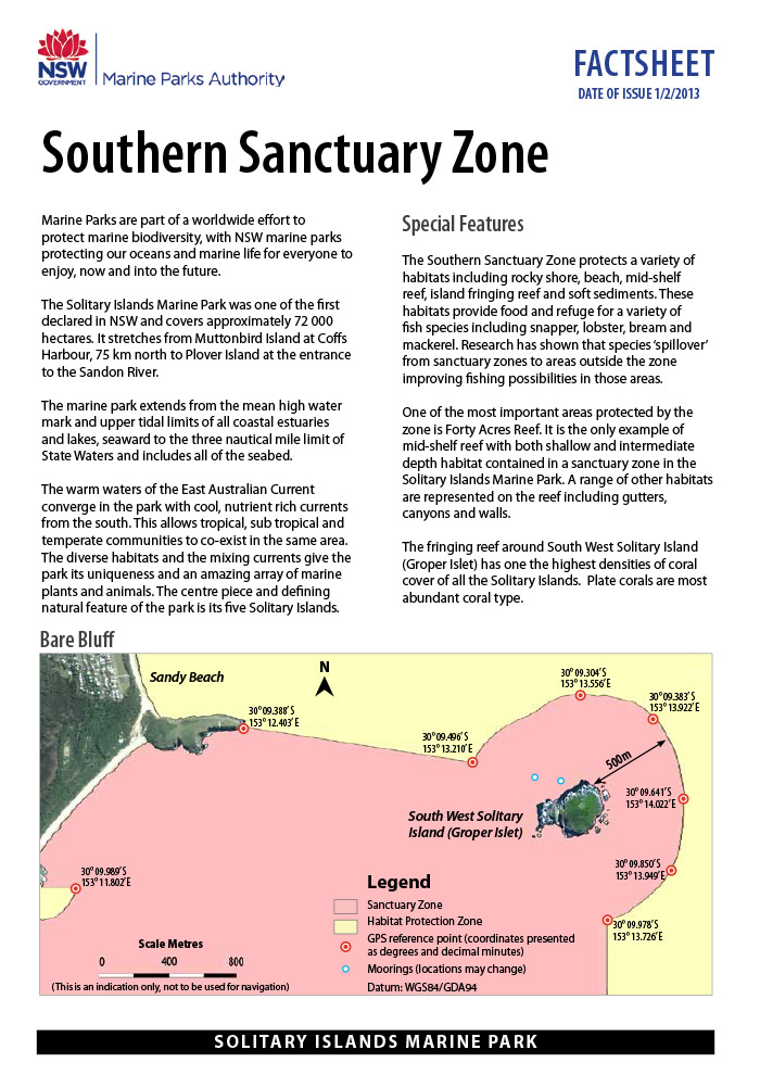 Solitary Islands Marine Park Fact Sheet - Southern