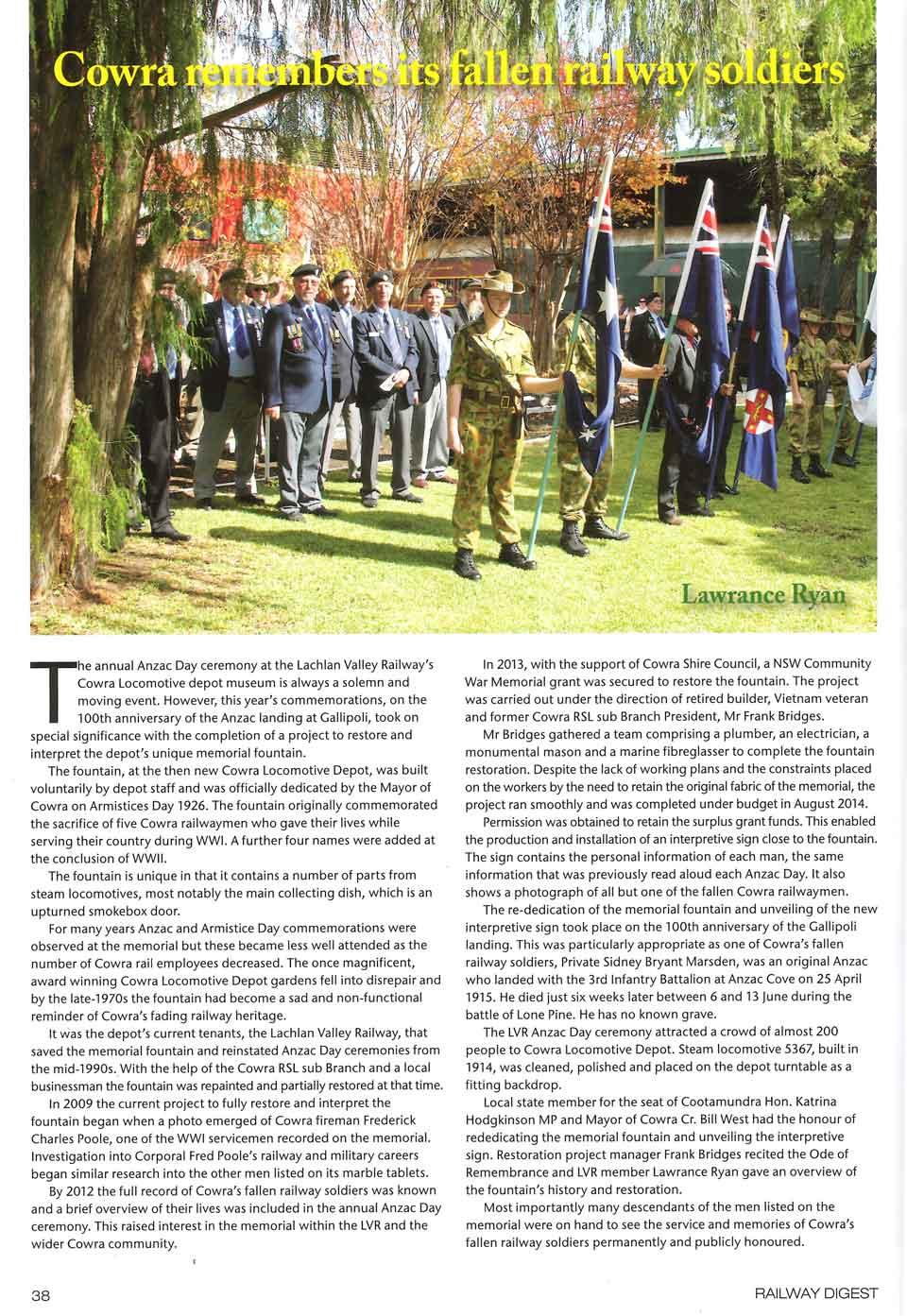 Cowra's Railway Soldiers - Railway Digest p1