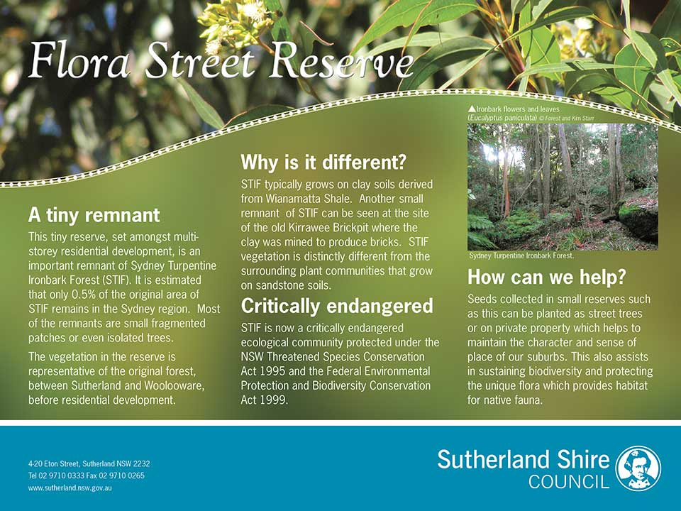 Sydney Turpentine Ironbark Forest environmental sign