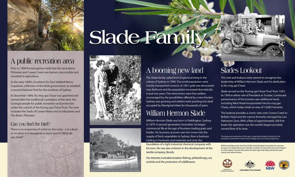 Slade Family - interpretive sign in Kuring-gai Chase NP