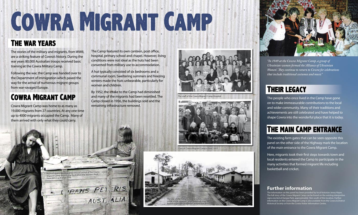 Cowra Migrant Camp Interpretive Sign