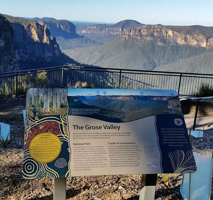 Memorial Signage, NPWS Blue Mountains