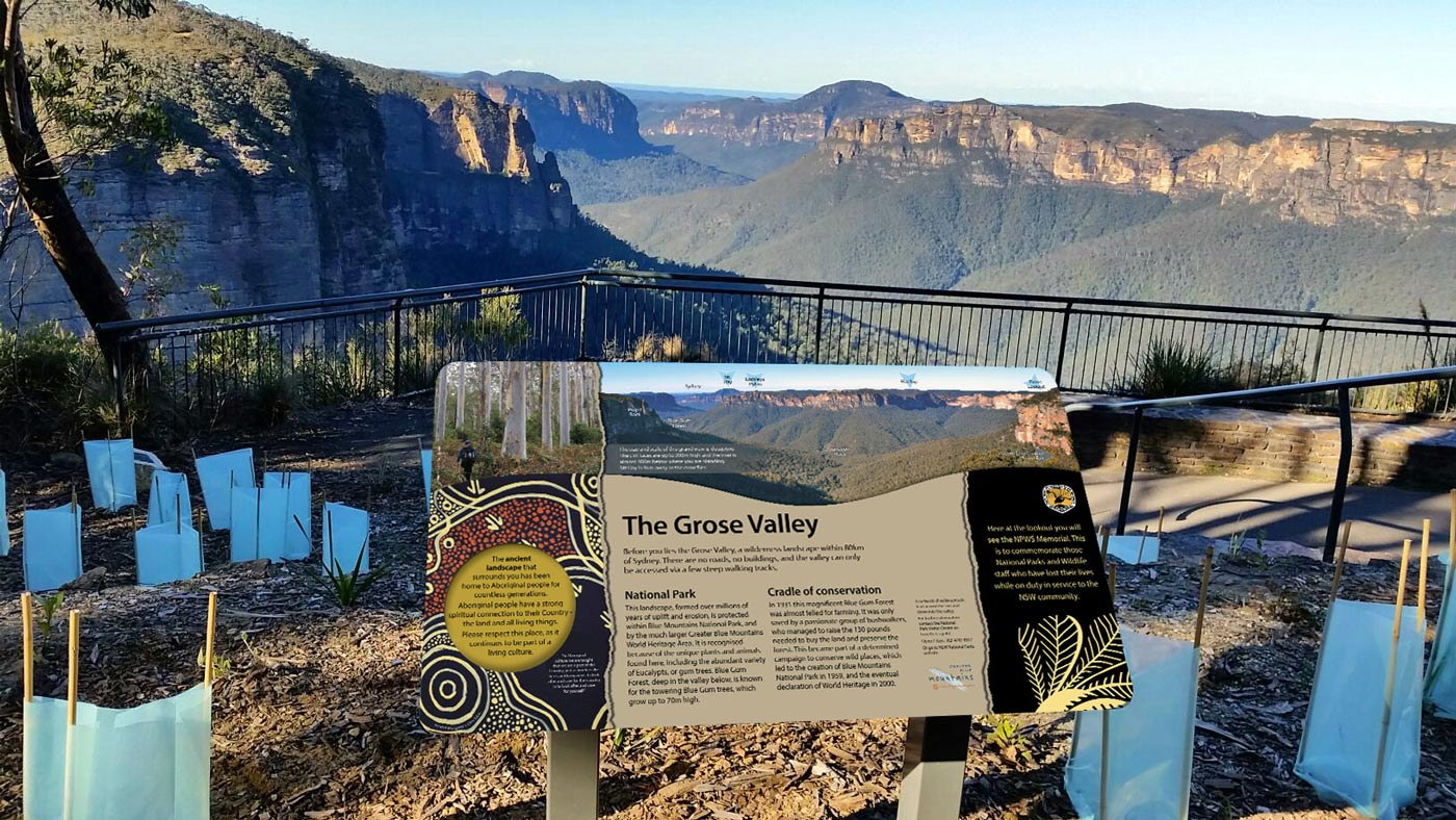 George Phillips Lookout insitu memorial sign for NPWS