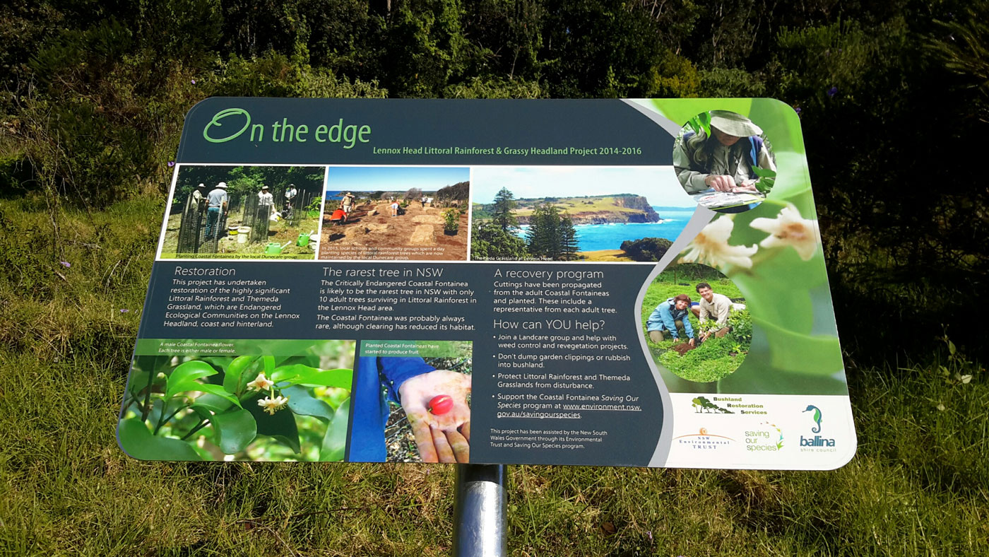 Fontainea Saving our Species Sign