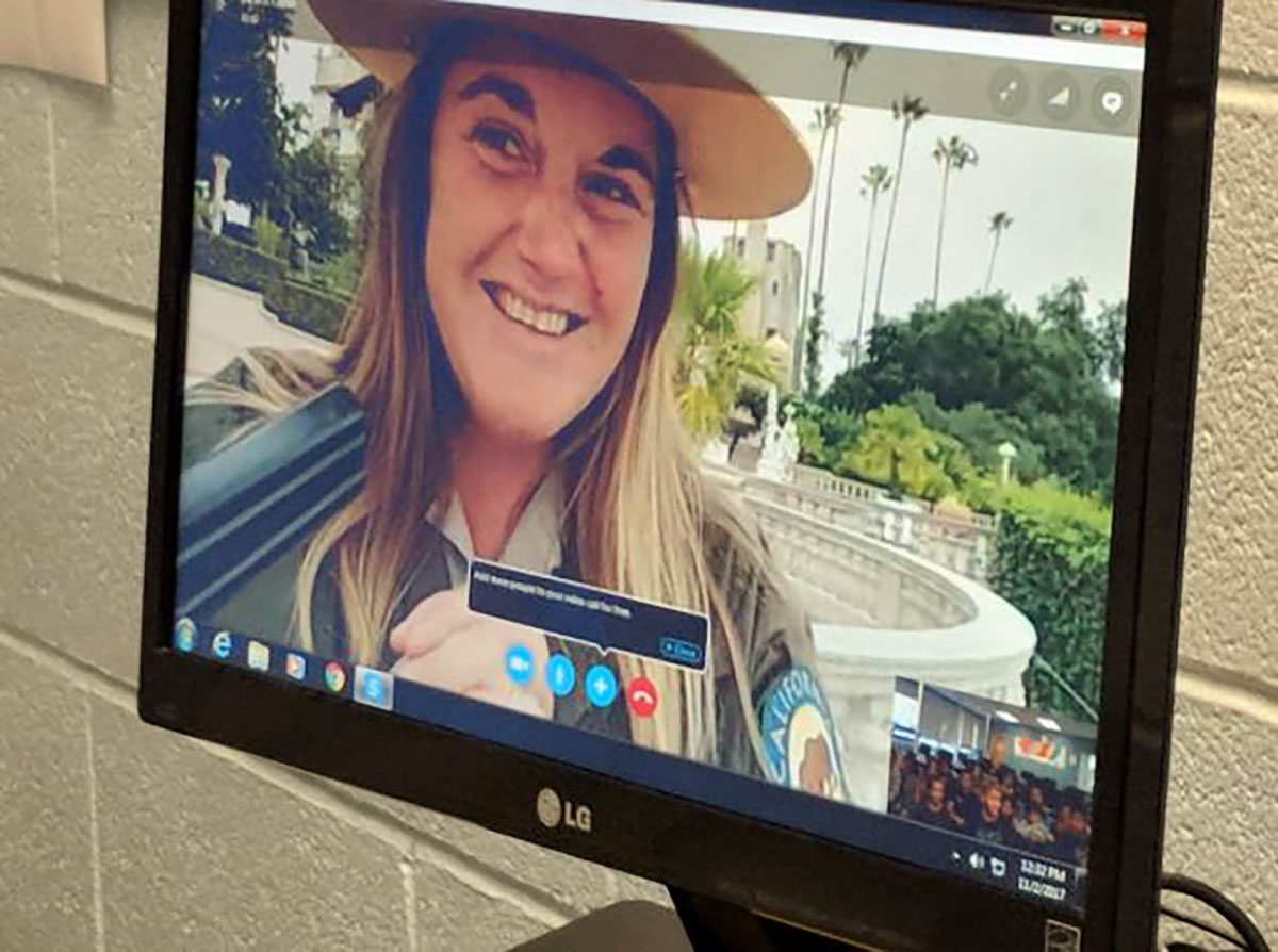 Erin Gates delivering a virtual tour