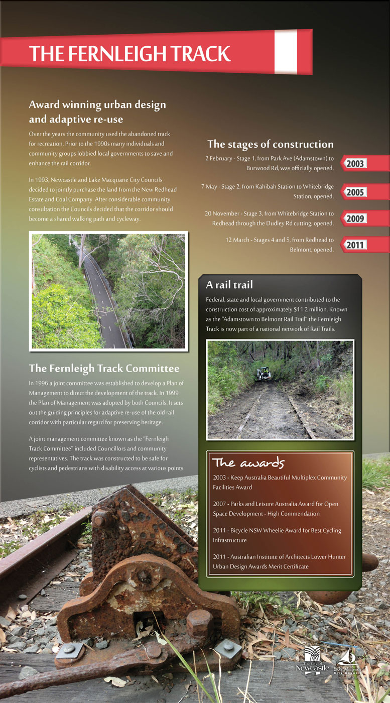 Fernleigh Track rail and coal sign